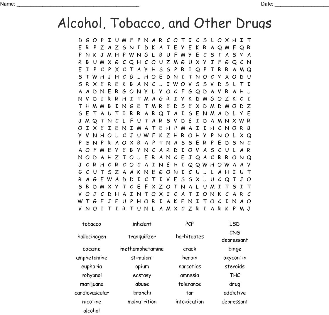 Drug And Alcohol Awareness Word Search - Wordmint