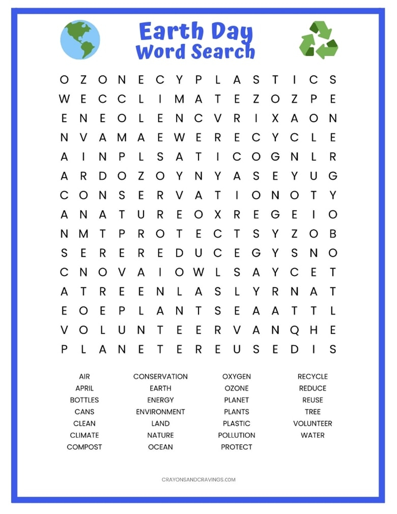 Earth Day Word Search Free Printable Worksheet