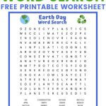 Earth Day Word Search Free Printable Worksheet | Earth Day