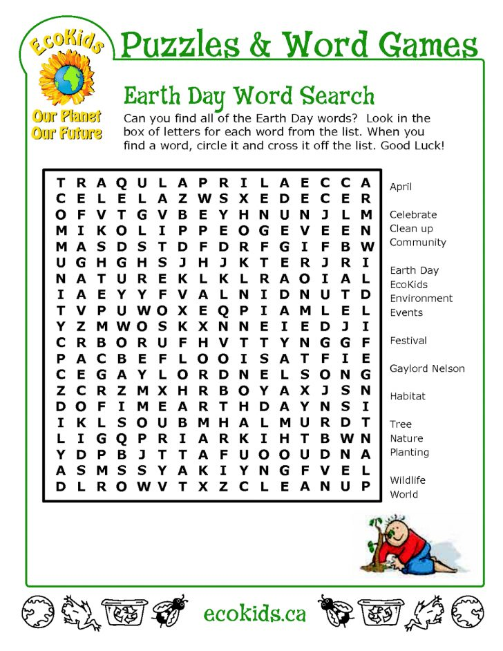 Earth Day Word Search Printable