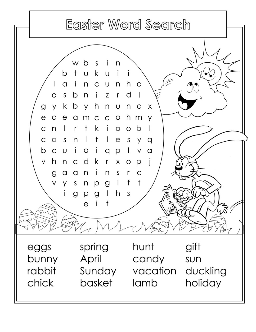 Easter Word Search For Kids | Printable Shelter