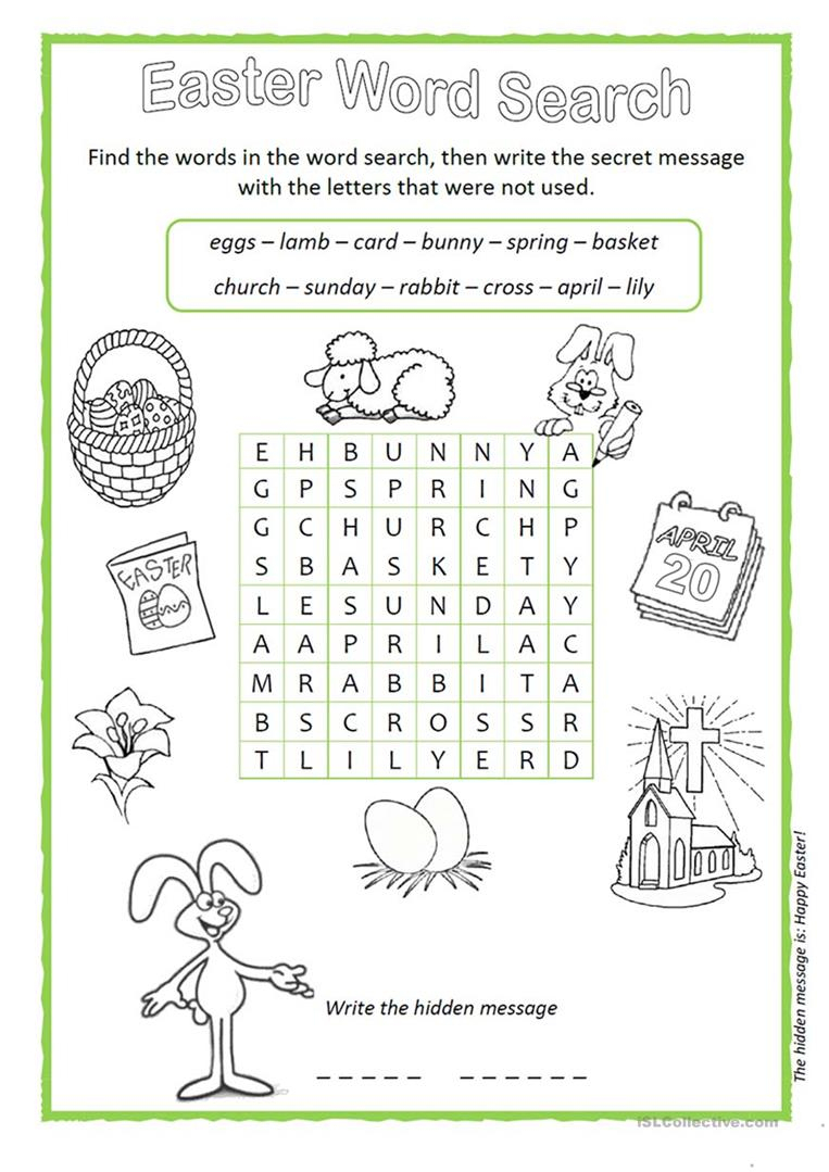 Easter Wordsearch - English Esl Worksheets For Distance