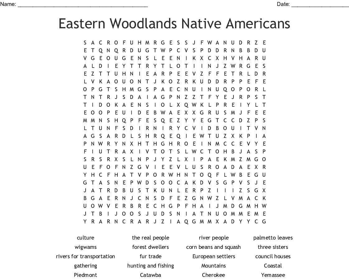 Eastern Woodlands Native Americans Word Search - Wordmint