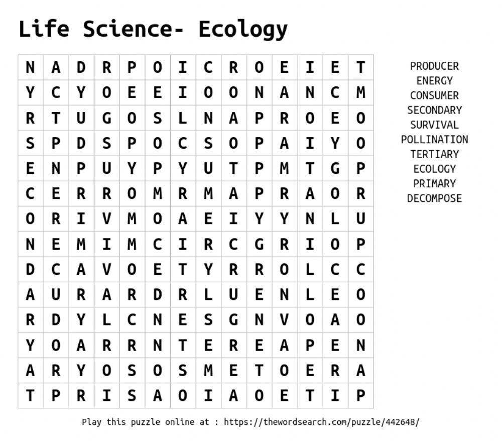 Ecology Word Search - Interactive Worksheet