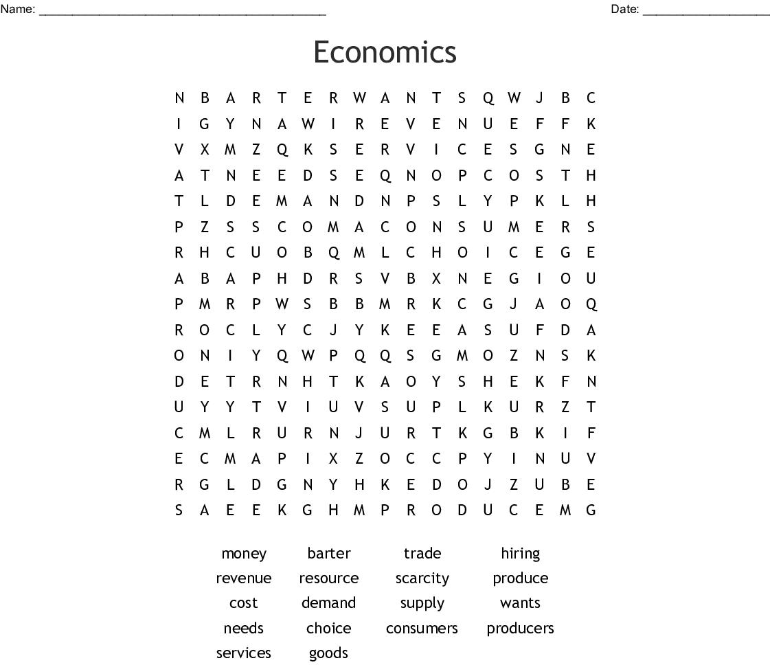 Economics Word Search - Wordmint