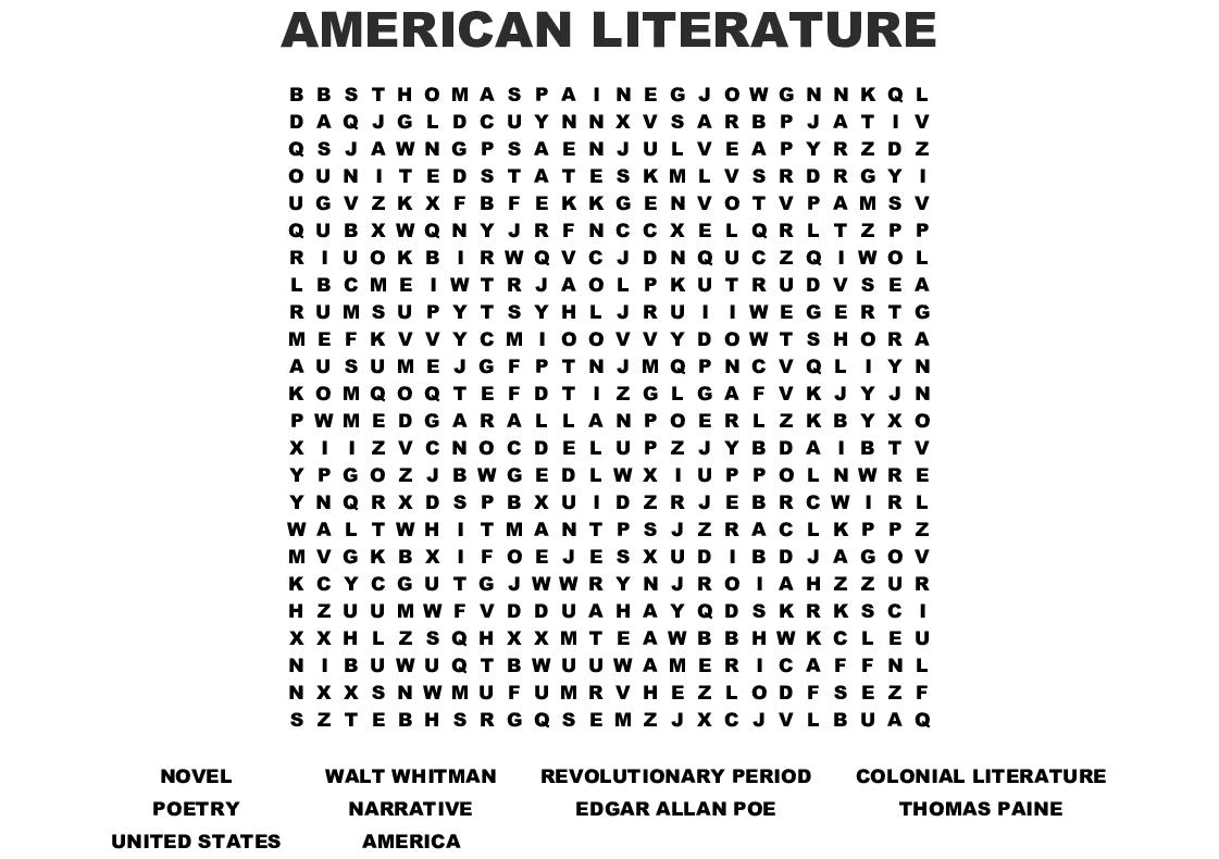 Edgar Allan Poe Word Search - Wordmint