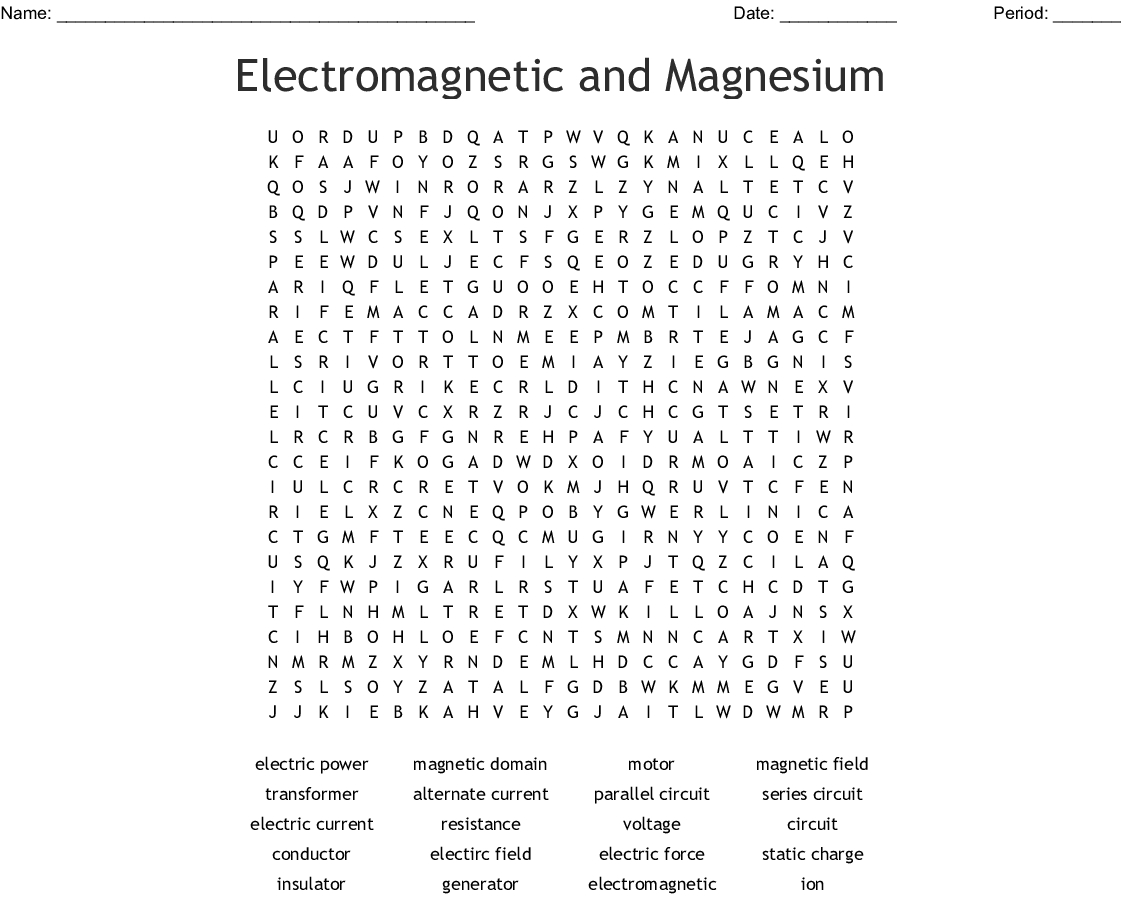 Electricity And Magnetism Word Search - Wordmint