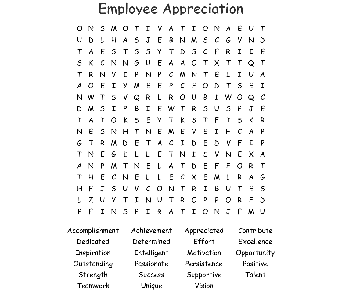 Employee Appreciation Word Search - Wordmint