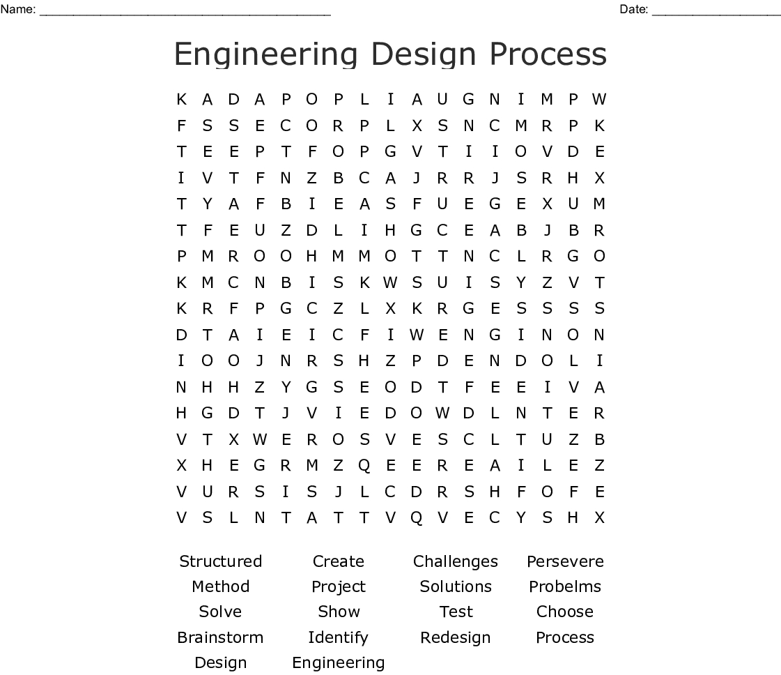 Engineering Design Process Word Search - Wordmint