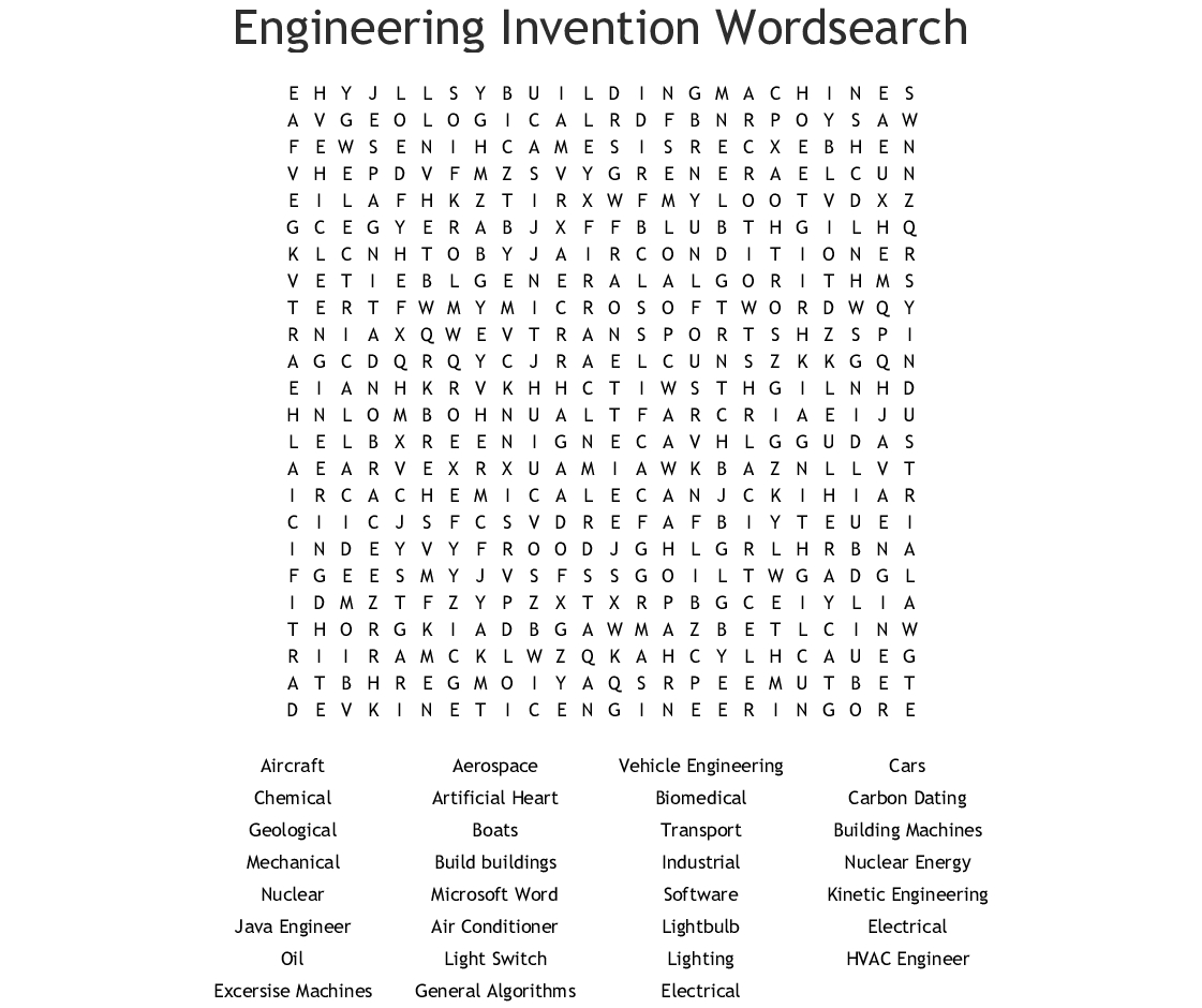 Engineering Invention Wordsearch - Wordmint