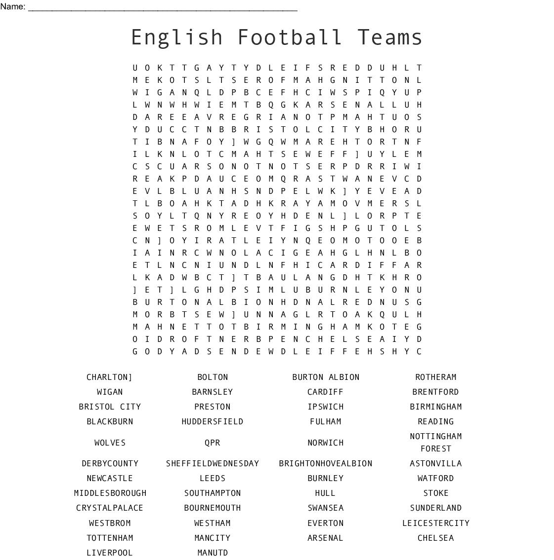 English Football Teams Word Search - Wordmint