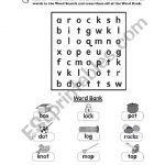 English Worksheets: Phonics Word Search