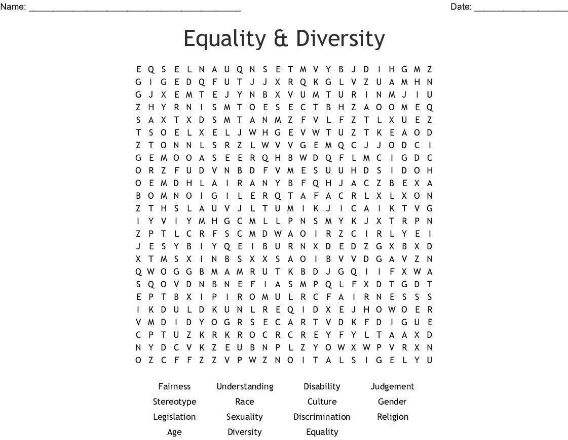 Equality & Diversity Word Search - Wordmint