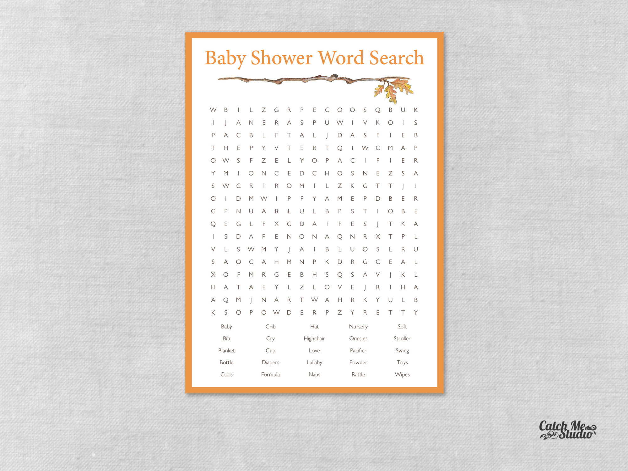 Fall Baby Shower Word Search, Autumn Baby Shower Word Search, Printable  Baby Shower Game