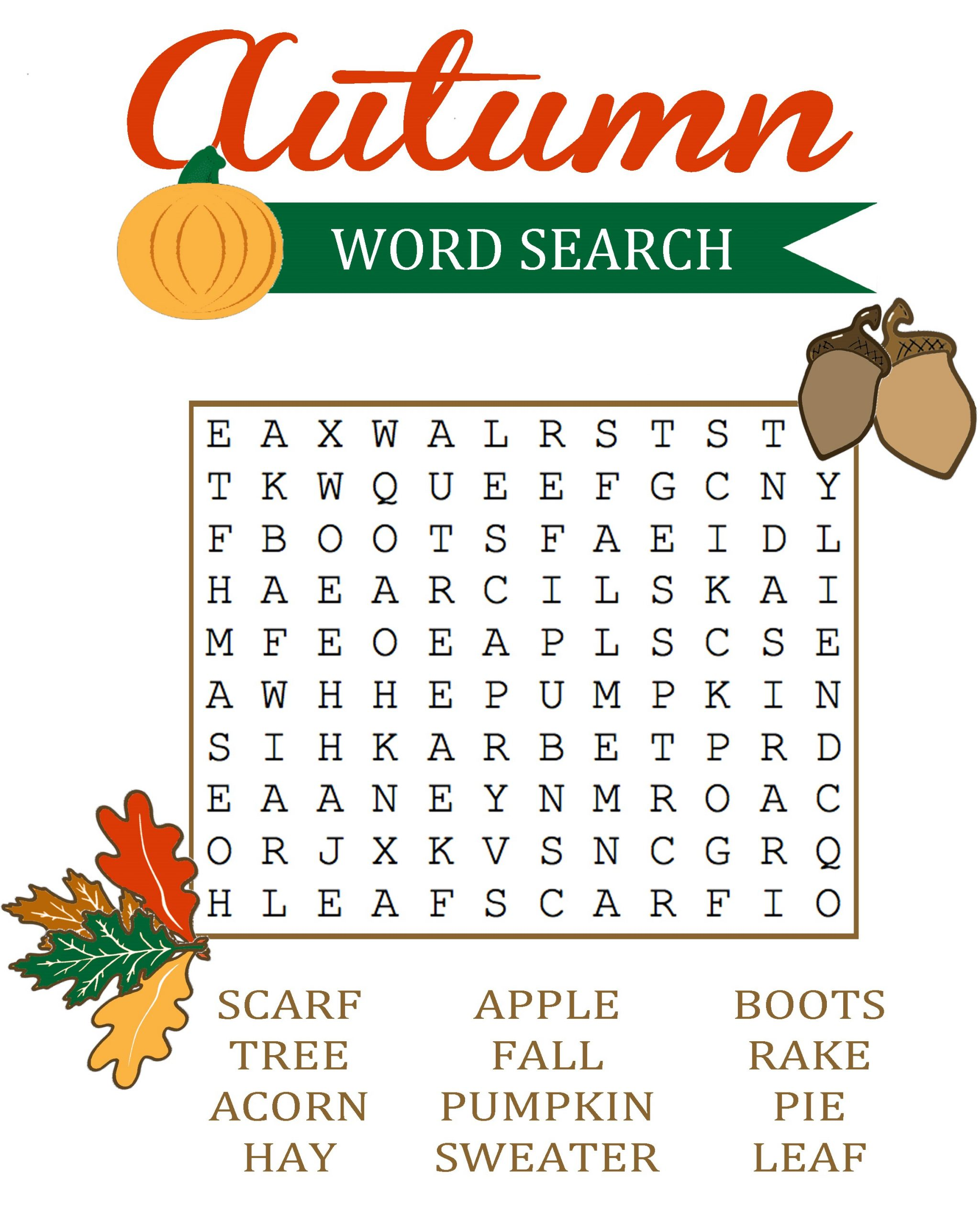 Fall Word Search For Kids Simple | Loving Printable
