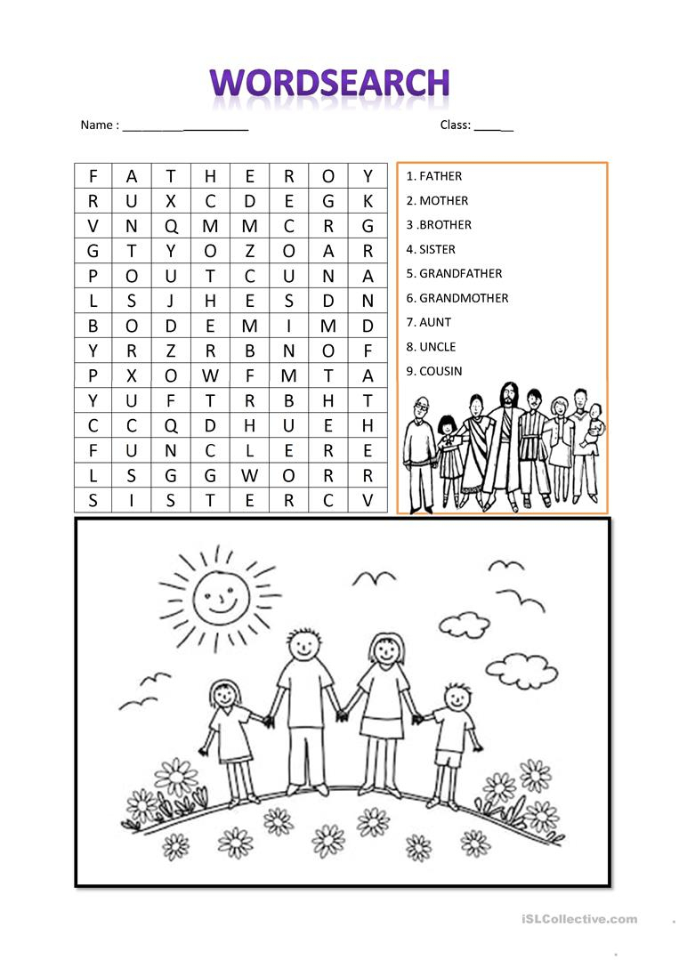 Family Word Search - English Esl Worksheets For Distance
