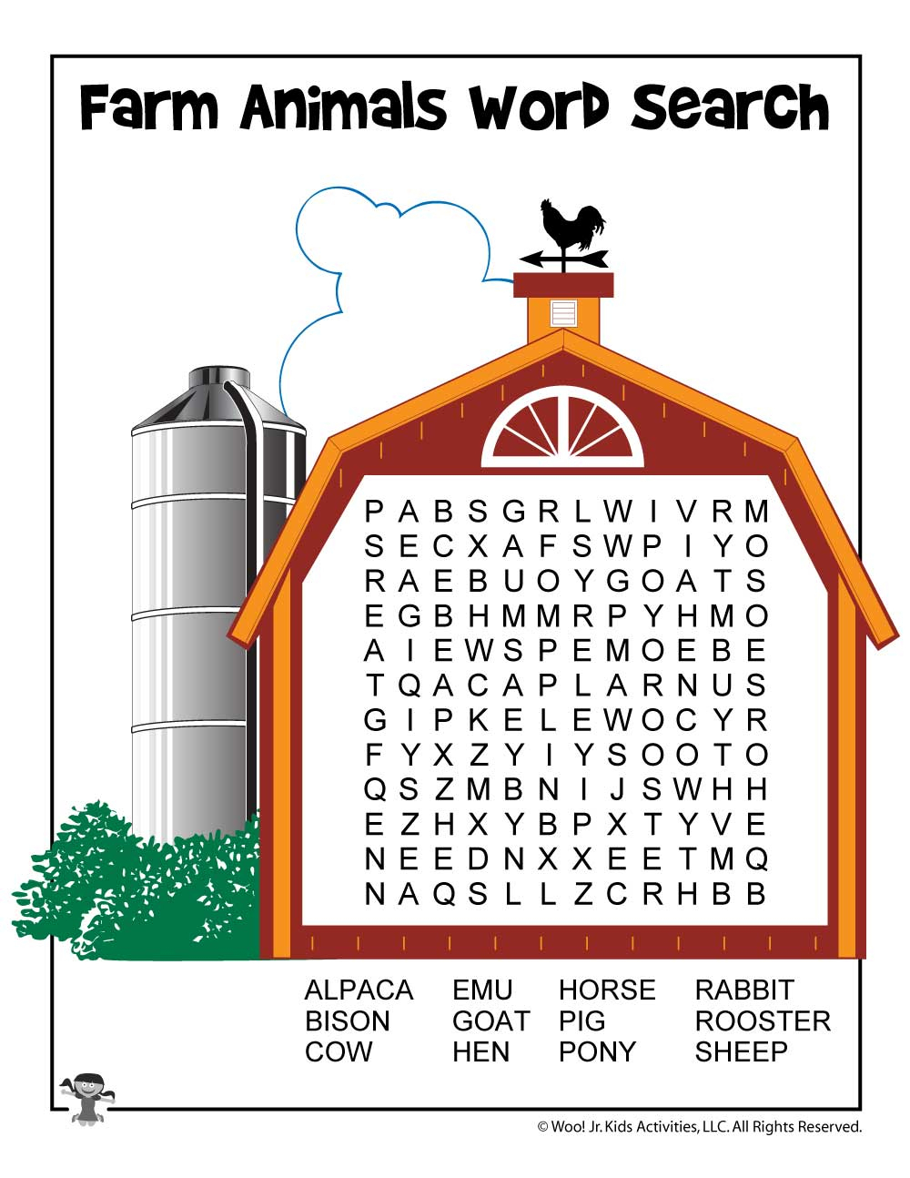 Farm Animal Word Search Printable | Woo! Jr. Kids Activities