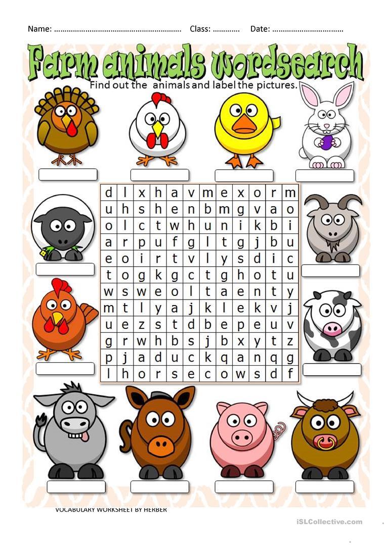 Farm Animals Wordsearch - English Esl Worksheets For