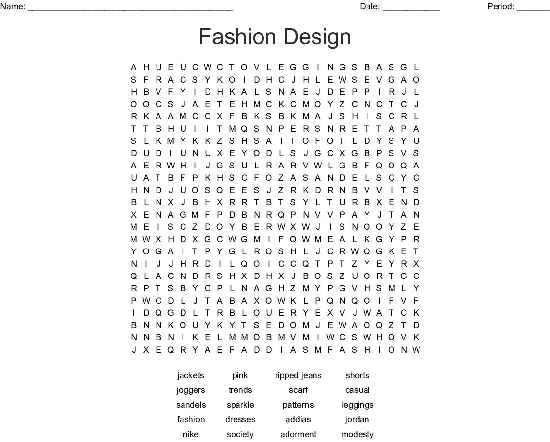 Fashion Design Word Search - Wordmint