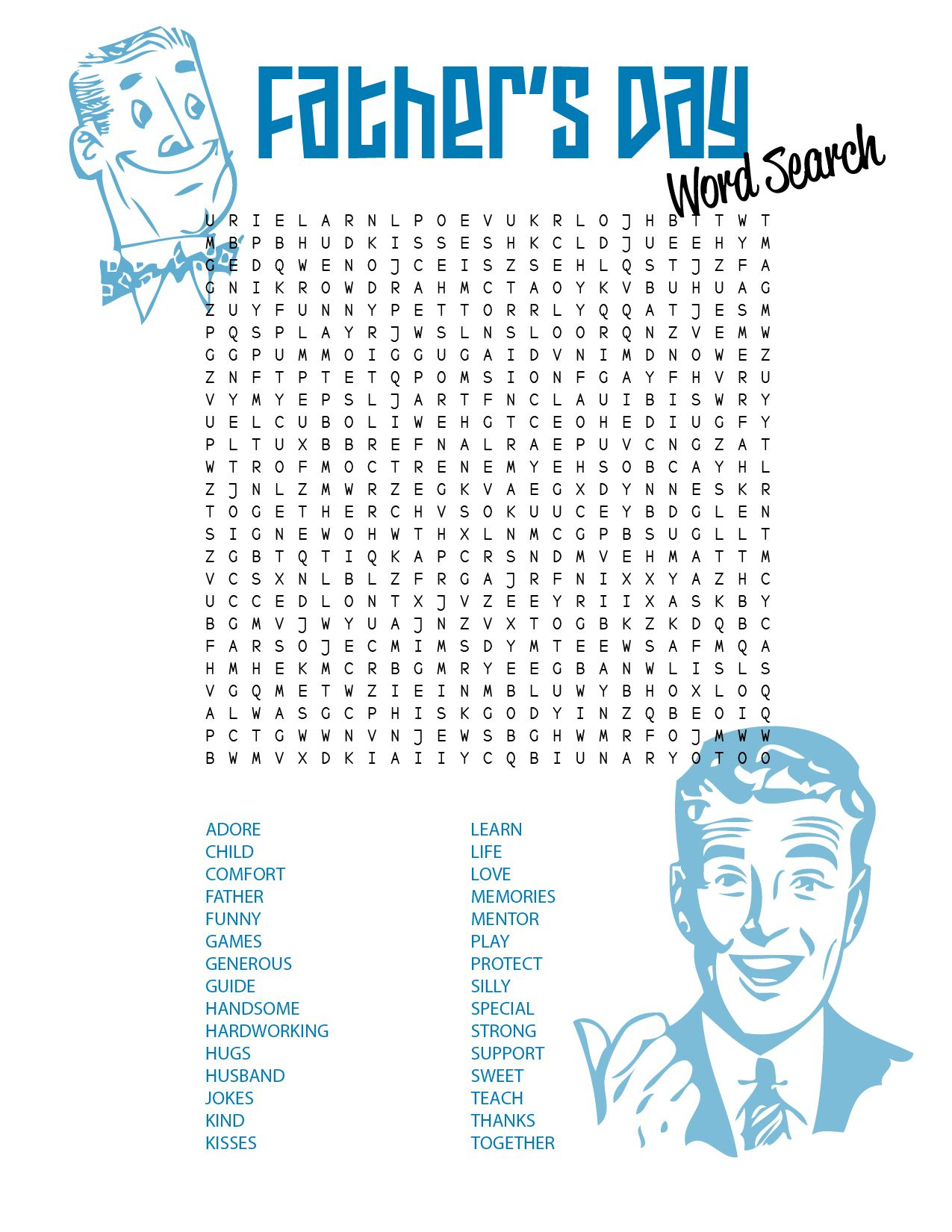 Father's Day [Free Printable   Free Printable Word Searches