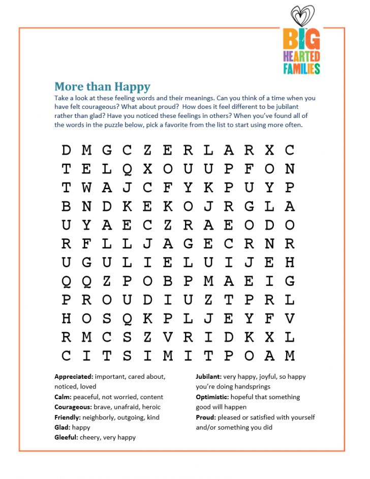 Feelings And Emotions Word Search Printable