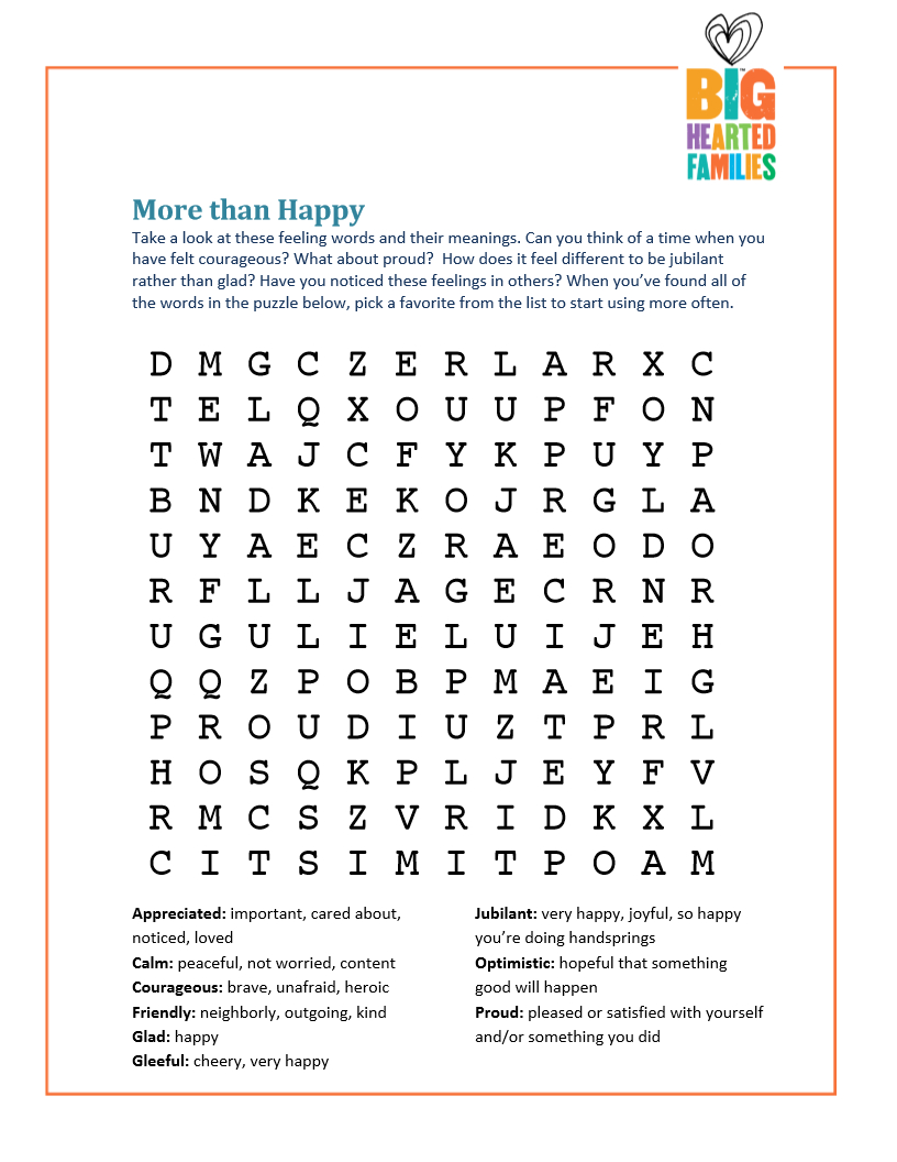 Feelings Word Search — Doing Good Together™