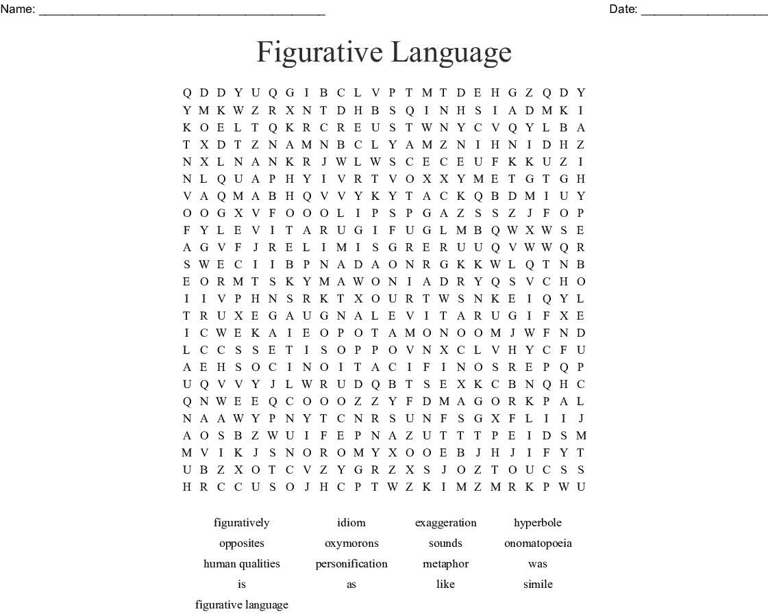 Figurative Language Word Search - Wordmint