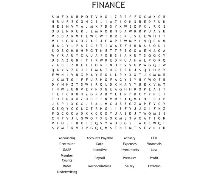 Finance Word Search Printable