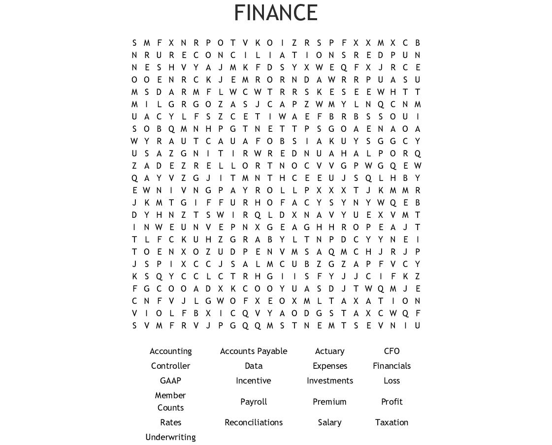 Finance Word Search - Wordmint