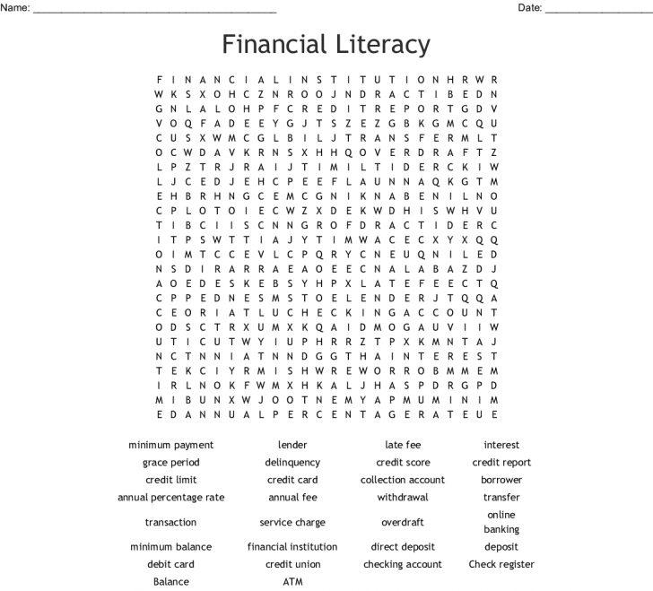 Financial Literacy Word Search Printable