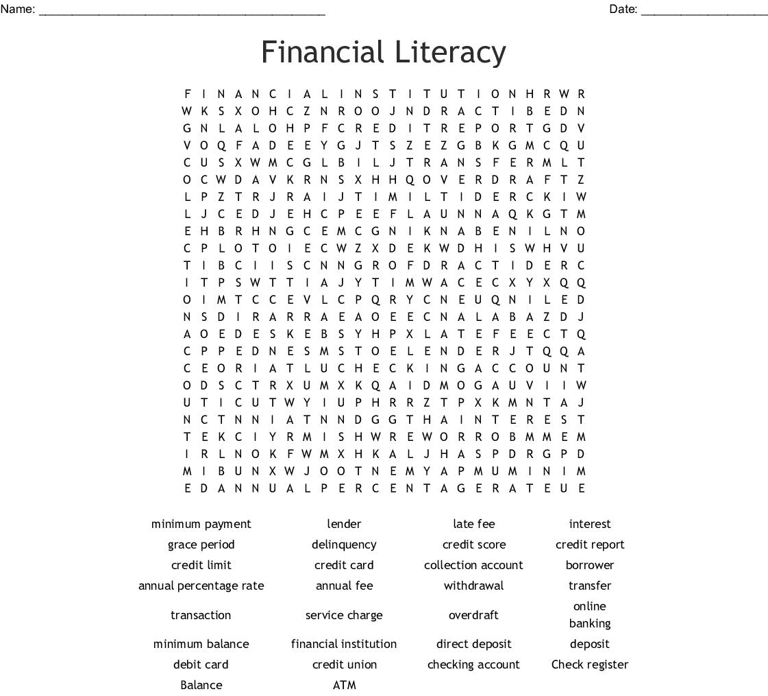 Financial Literacy Word Search - Wordmint