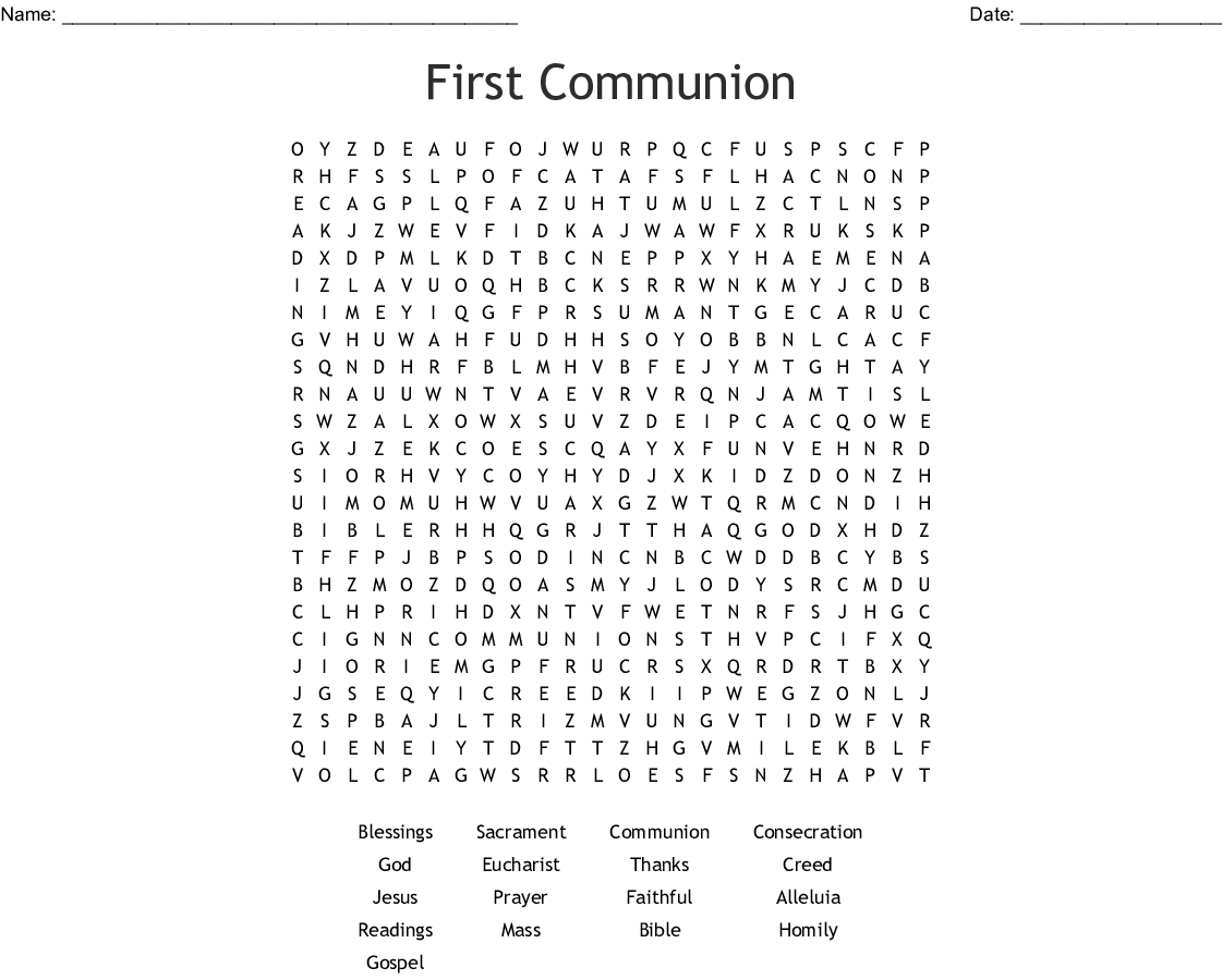 First Communion Word Search - Wordmint