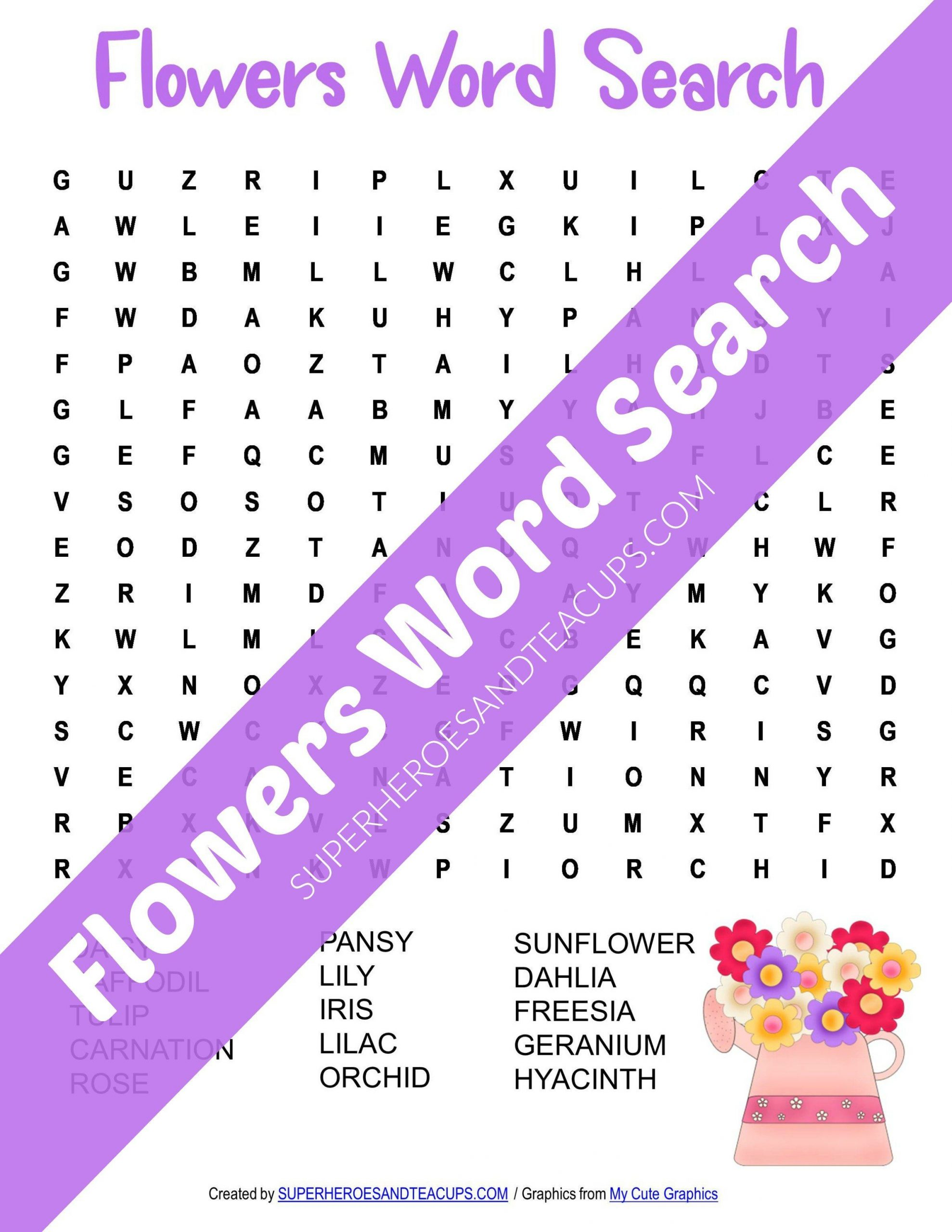 Flowers Word Search Free Printable For Kids | Spring Words
