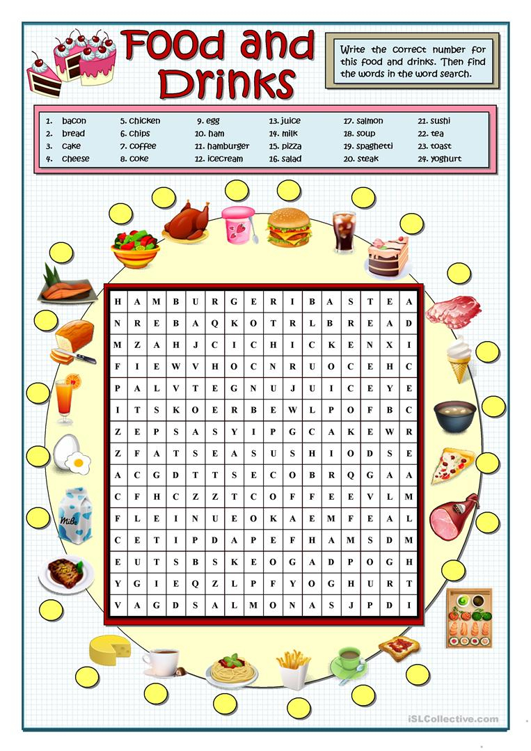 Food And Drinks Wordsearch - English Esl Worksheets For