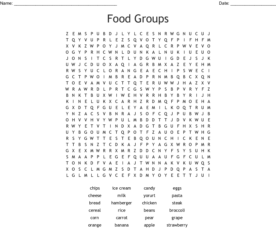 Food Pyramid Puzzle Word Search - Wordmint