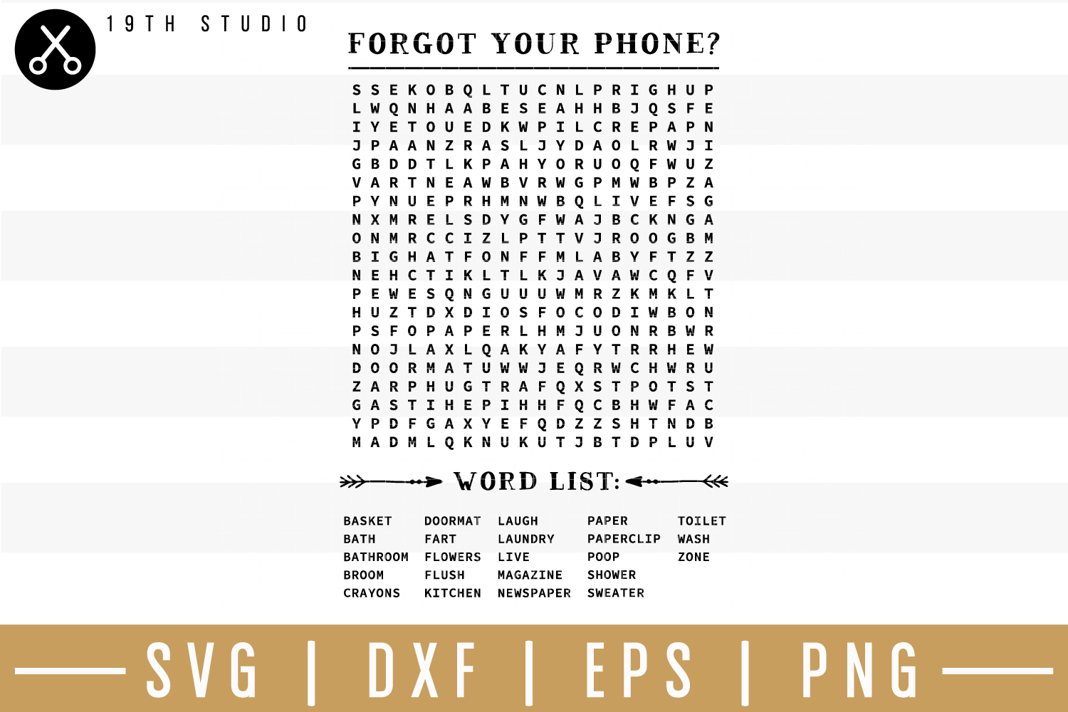 Forgot Your Phone Word Search Svg| Bathroom Sign Svg