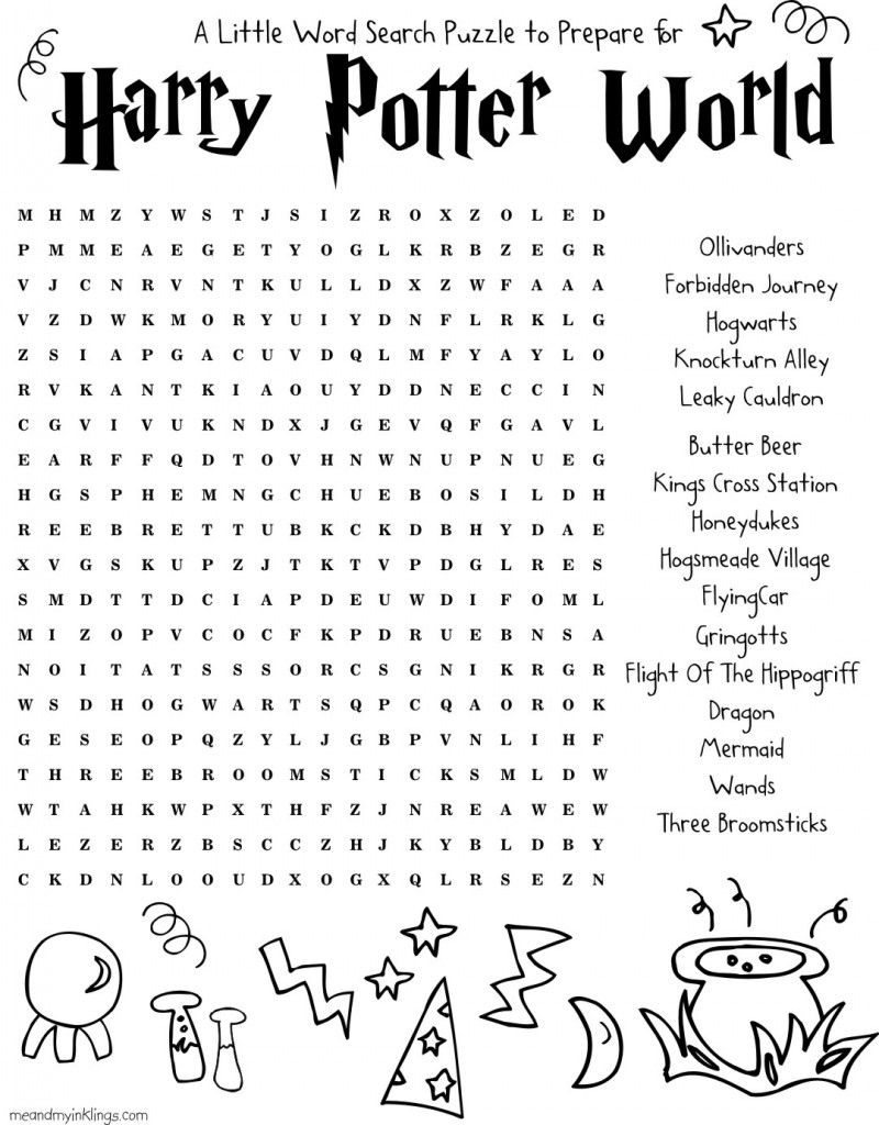 Free Harry Potter Wordsearch Puzzle For Kids Of All Ages