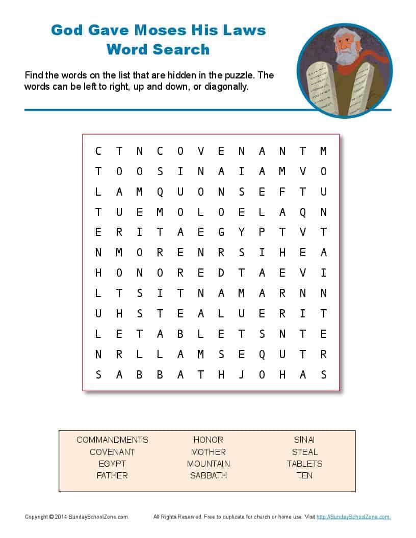Free, Printable 10 Commandments Word Search On Sunday School