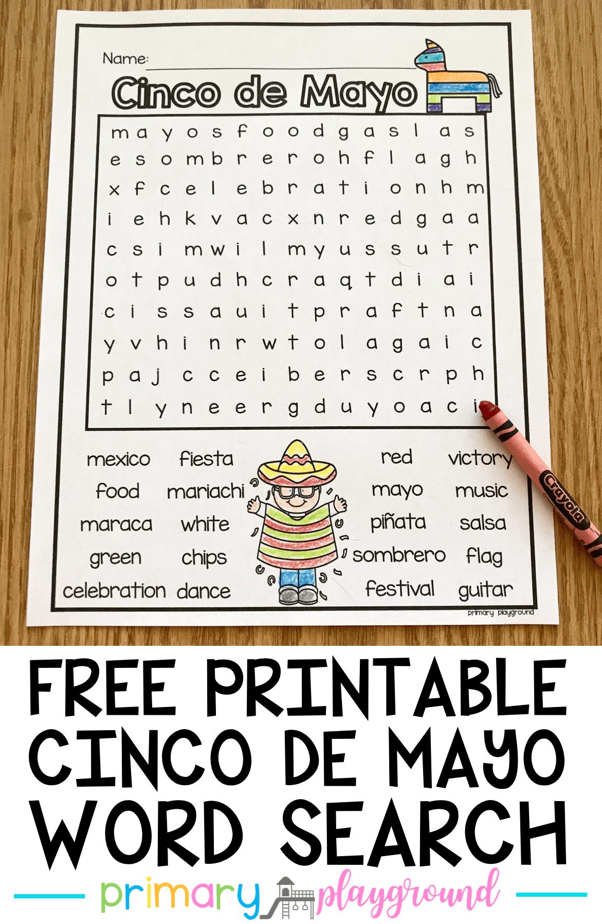 Free Printable Cinco De Mayo Word Search   Cinco De Mayo
