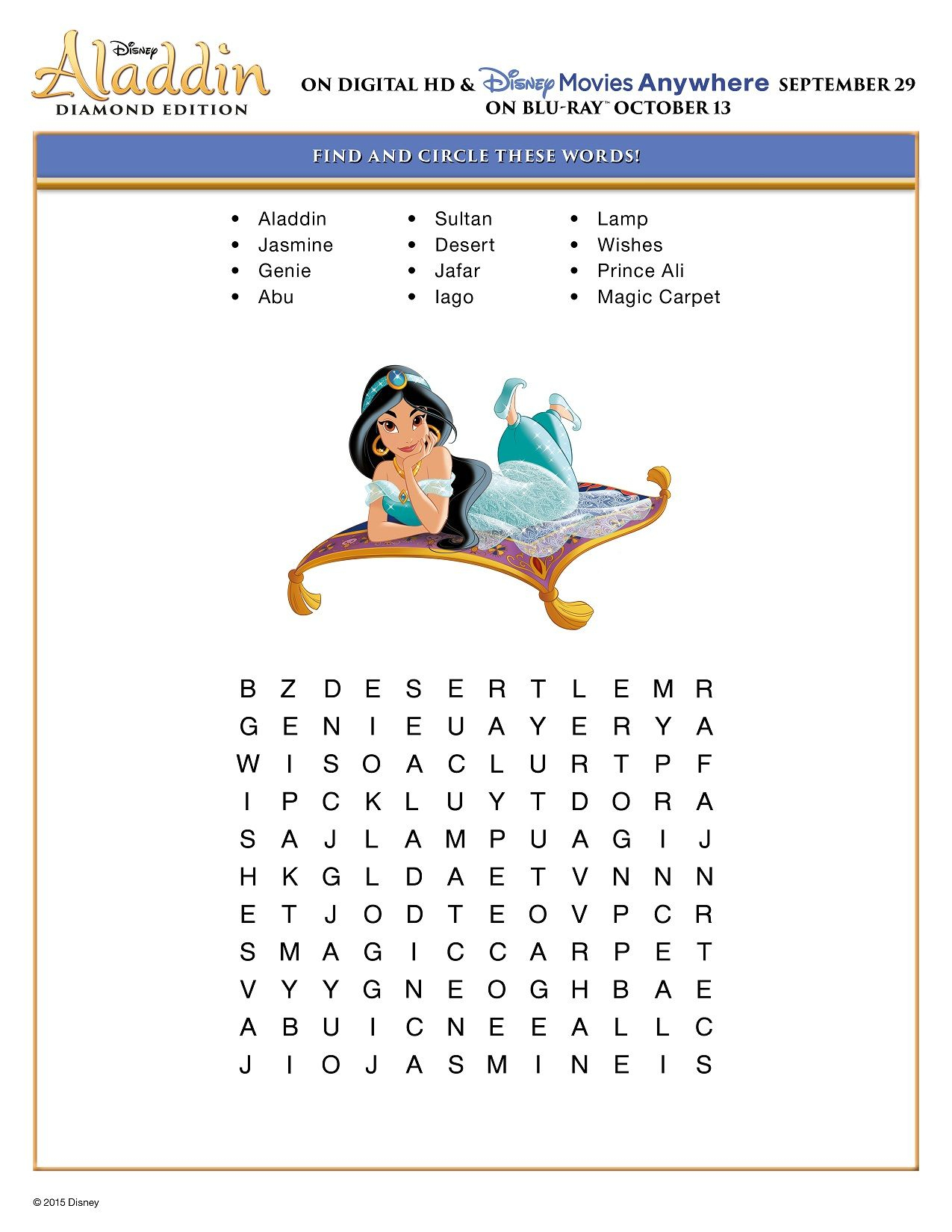 Free Printable Disney Aladdin Activity Sheets Diamond