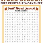 Free Printable Fall Word Search Puzzle With 15 Hidden Words