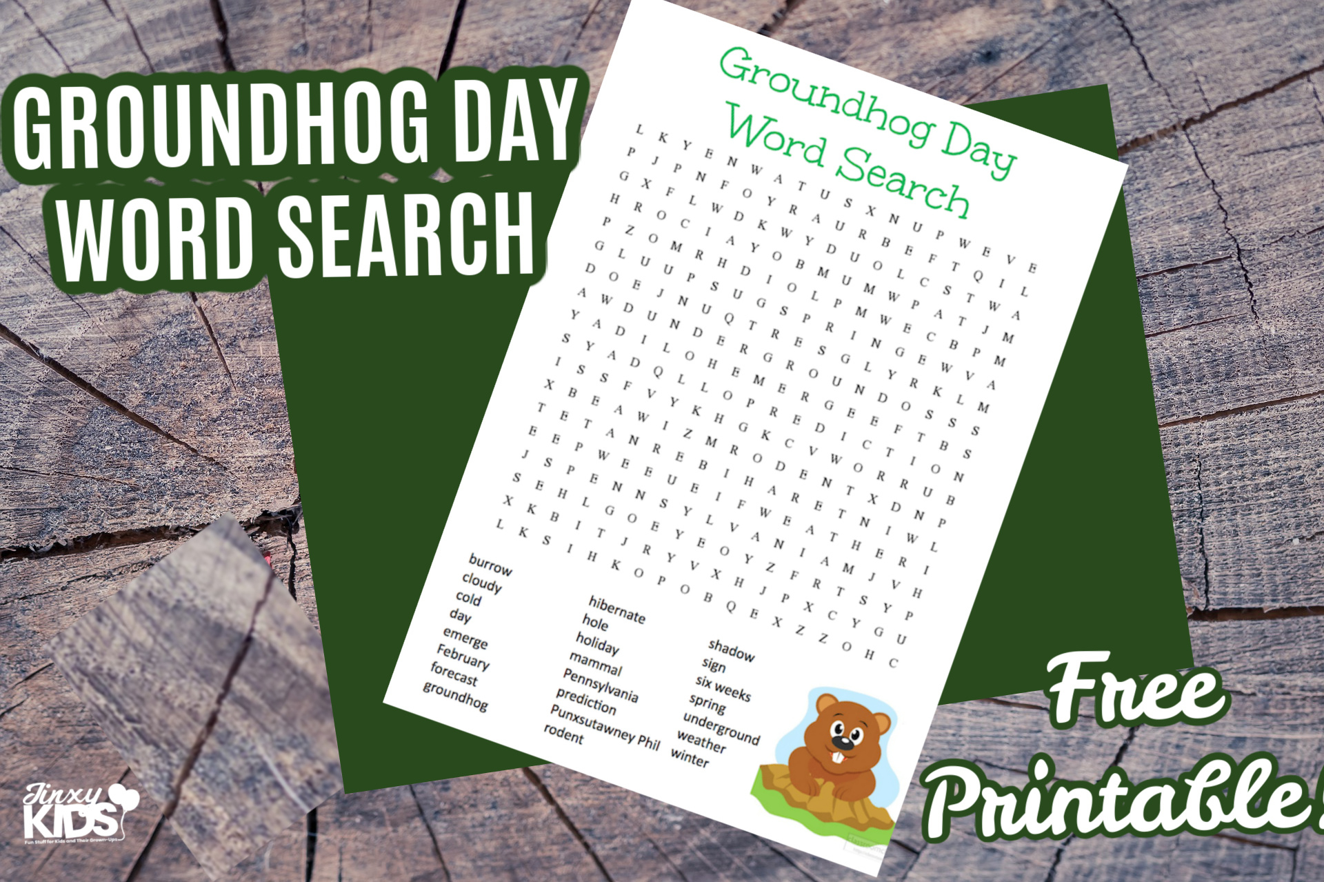 Free Printable Groundhog Day Word Search Puzzle - Jinxy Kids