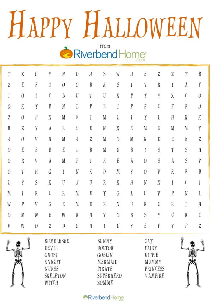 Printable Halloween Word Search For Adults