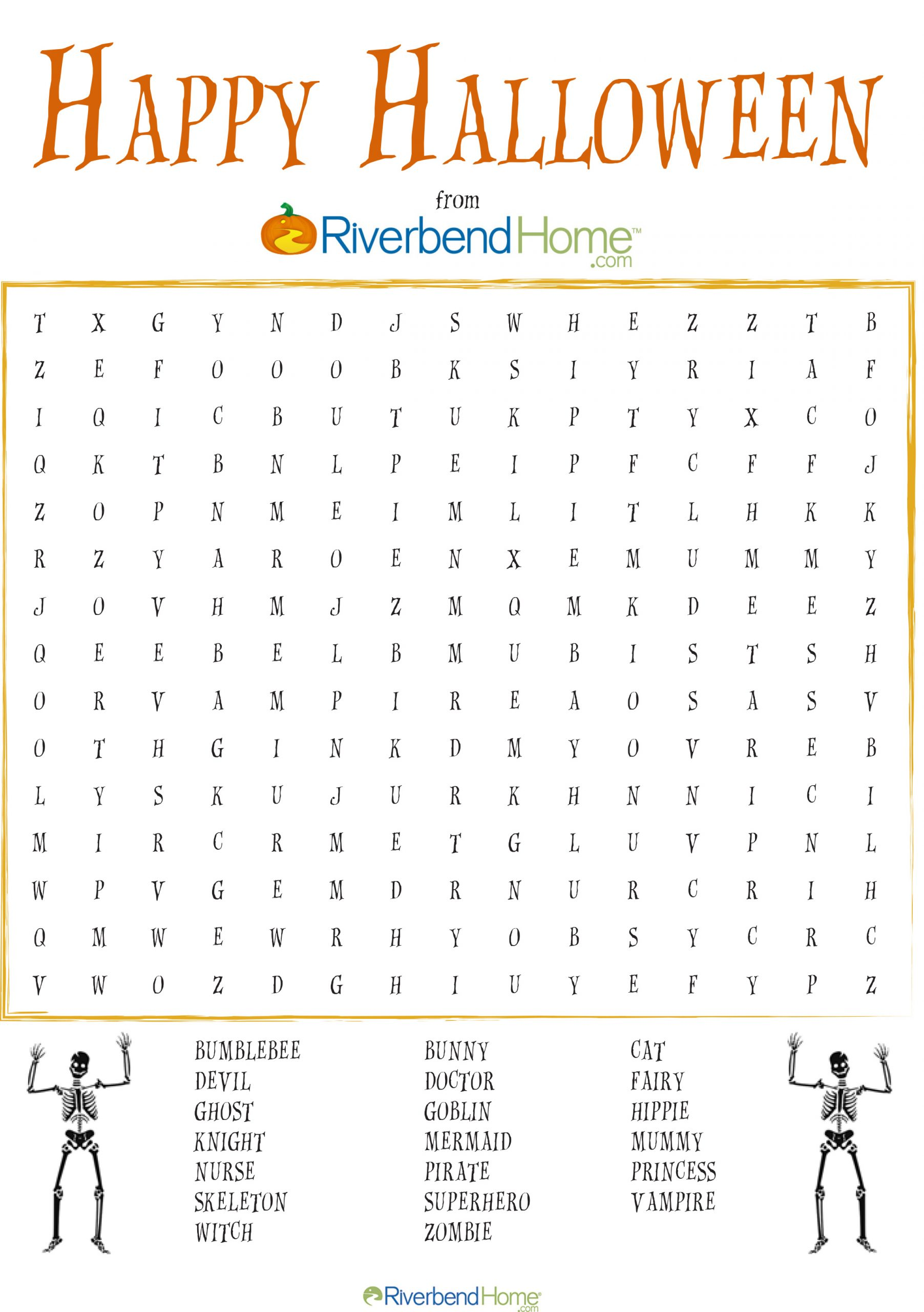Free Printable Halloween Word Search Puzzle   Riverbend Home