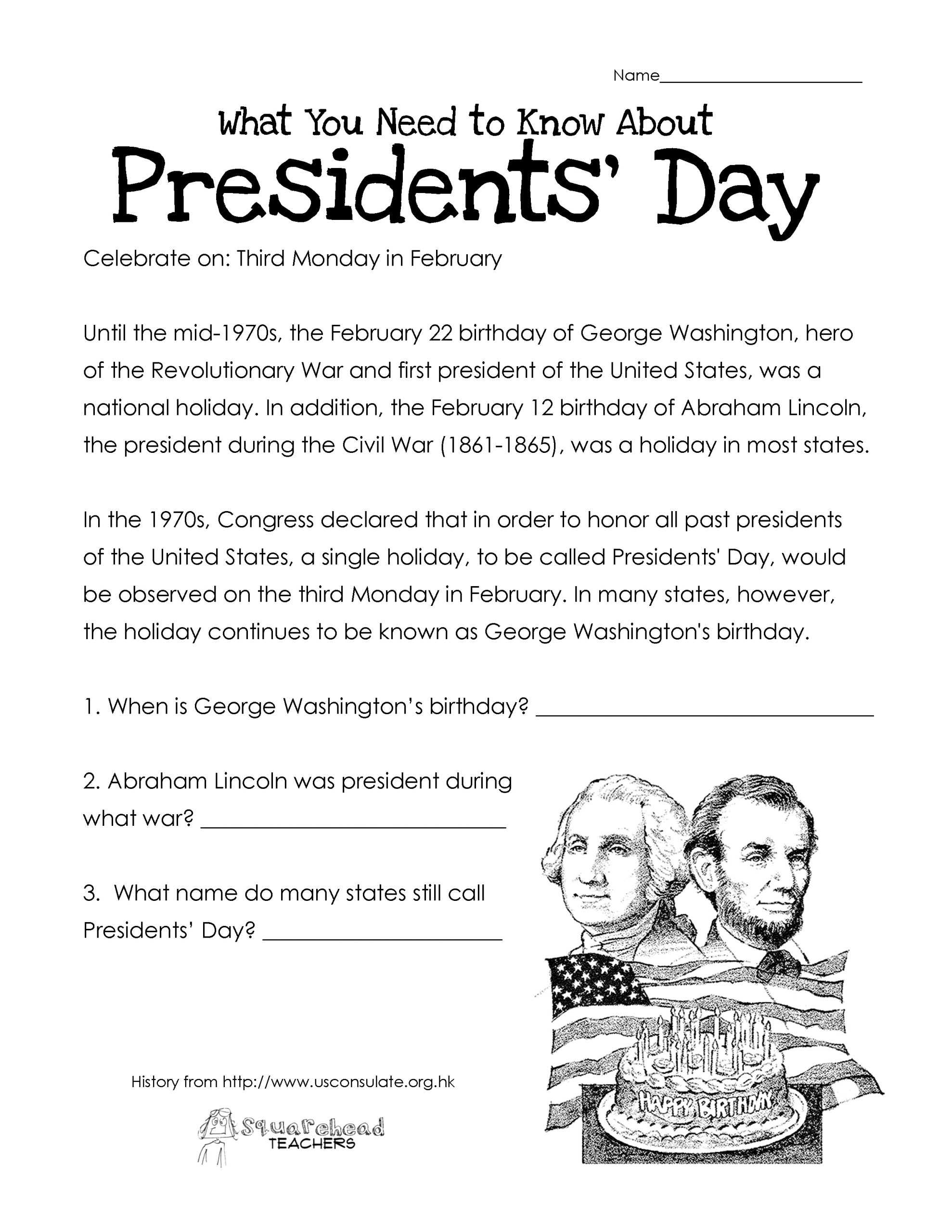 Free Printable Presidents Day Worksheets That Are Versatile