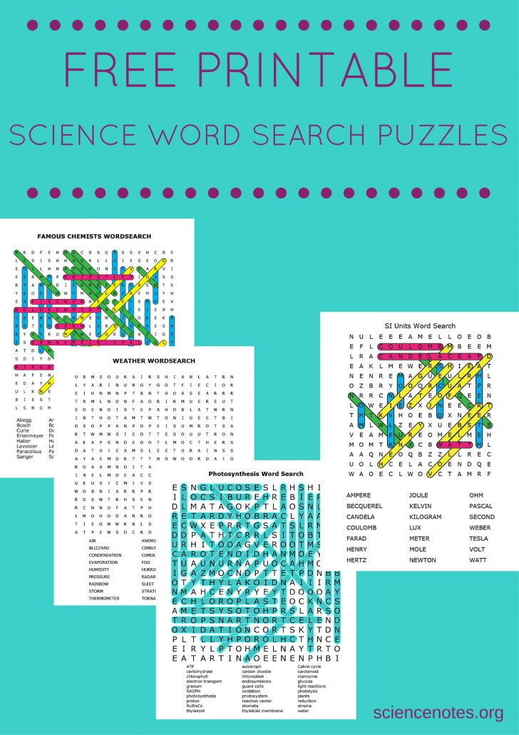 Free Printable Science Word Search Worksheets