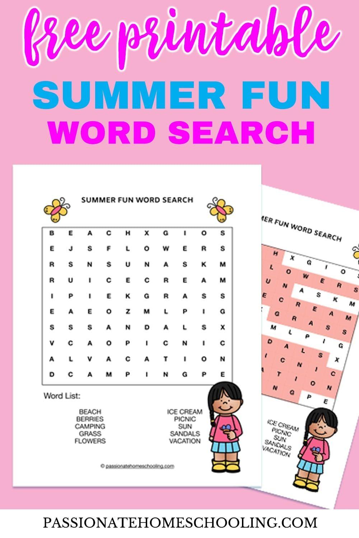 Free Printable Summer Fun Word Search | Summer Fun, Cool