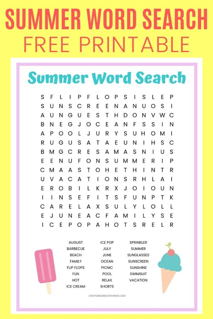 Free Summer Word Search Printable Worksheet With 23 Summer