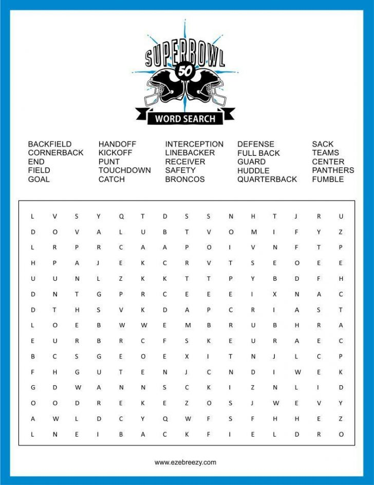 Printable Super Bowl Word Search