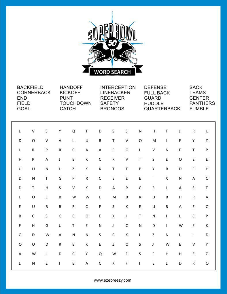 Free Super Bowl Word Search Printable   Football Word Search